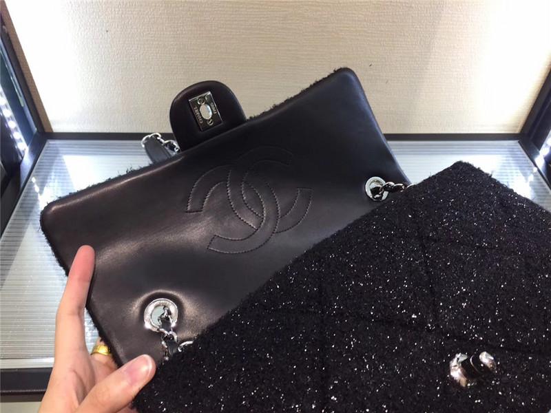 Túi Xách Chanel Classic màu đen lông dạ size 28 cm (6)