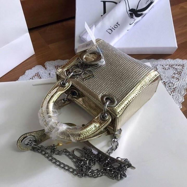 Túi Xách Dior Lady size 20 ánh vàng (2)