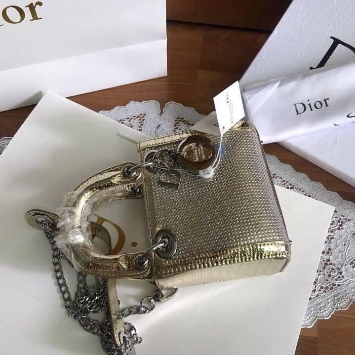 Túi Xách Dior Lady size 20 ánh vàng (4)