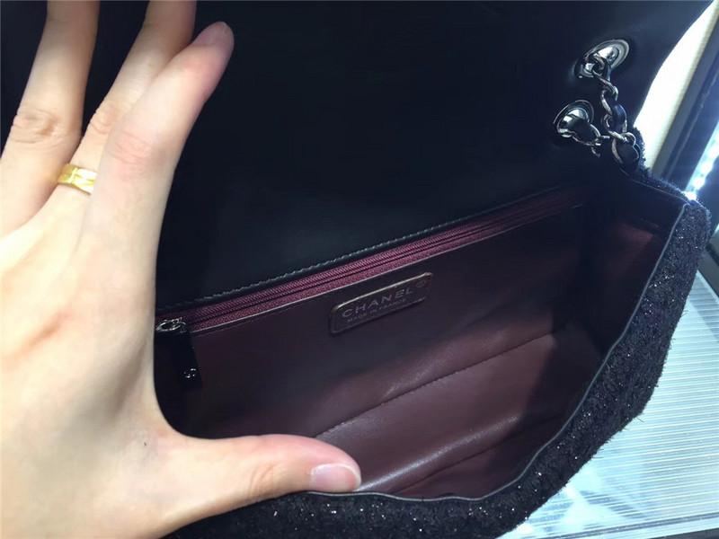 Túi Xách Chanel Classic màu đen lông dạ size 28 cm (7)