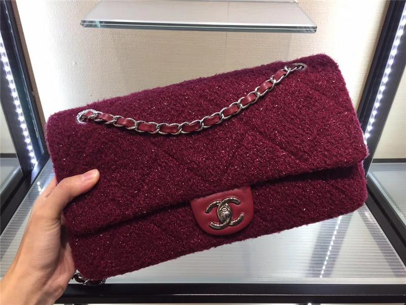Túi Xách Chanel Classic màu hồng lông dạ size 28 cm (1)