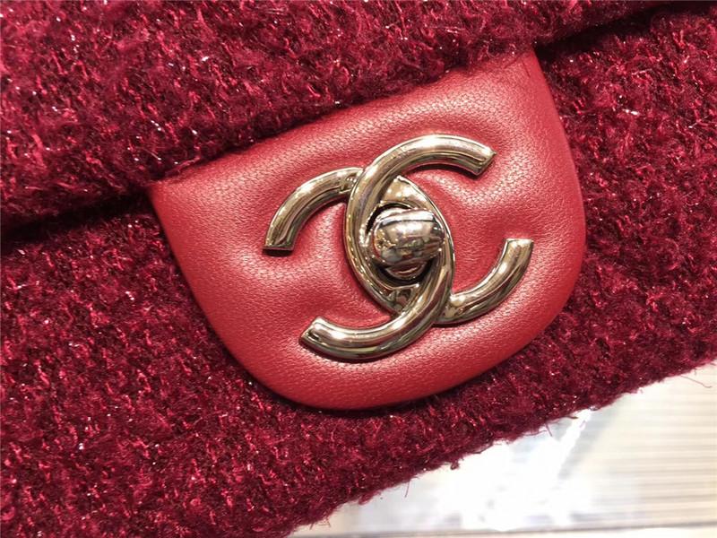 Túi Xách Chanel Classic màu hồng lông dạ size 28 cm (2)
