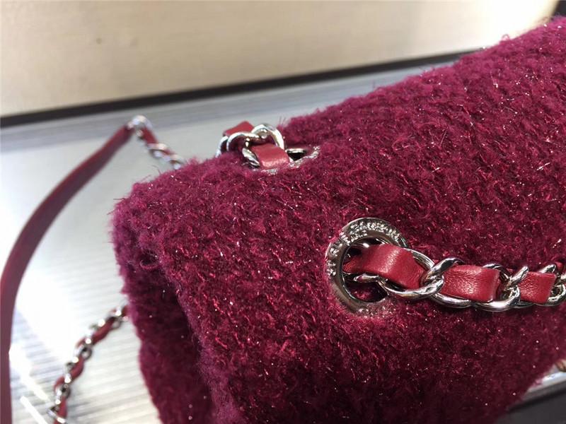 Túi Xách Chanel Classic màu hồng lông dạ size 28 cm (4)