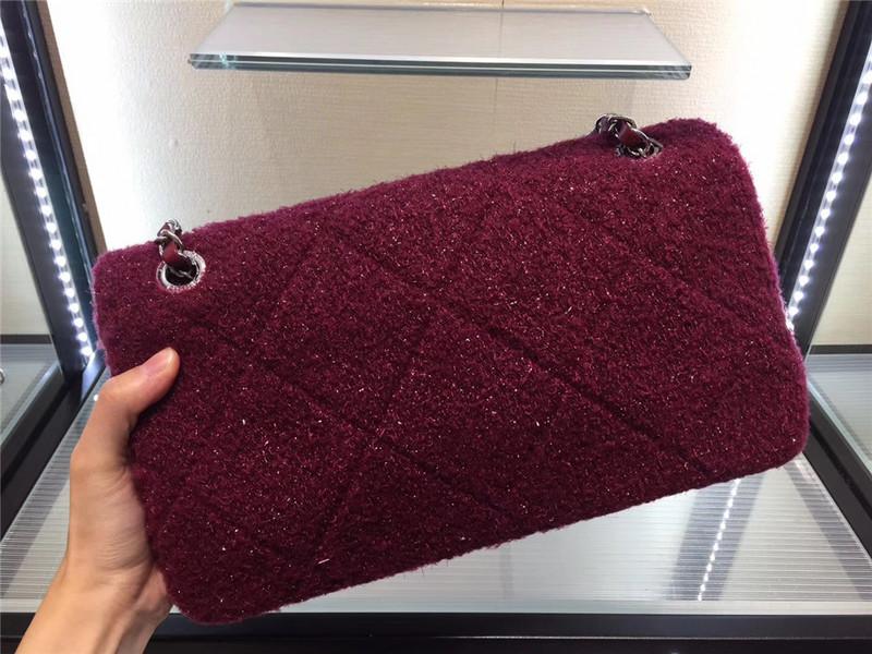 Túi Xách Chanel Classic màu hồng lông dạ size 28 cm (5)