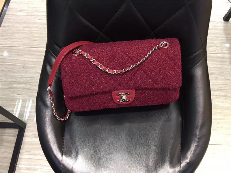 Túi Xách Chanel Classic màu hồng lông dạ size 28 cm (8)