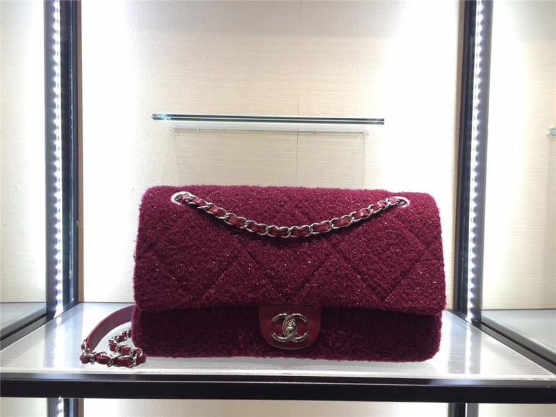 Túi Xách Chanel Classic màu hồng lông dạ size 28 cm (9)