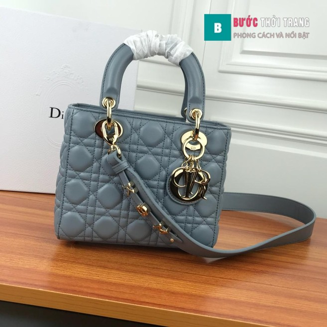 Túi Xách Dior Lady siêu cấp 20cm xanh đá