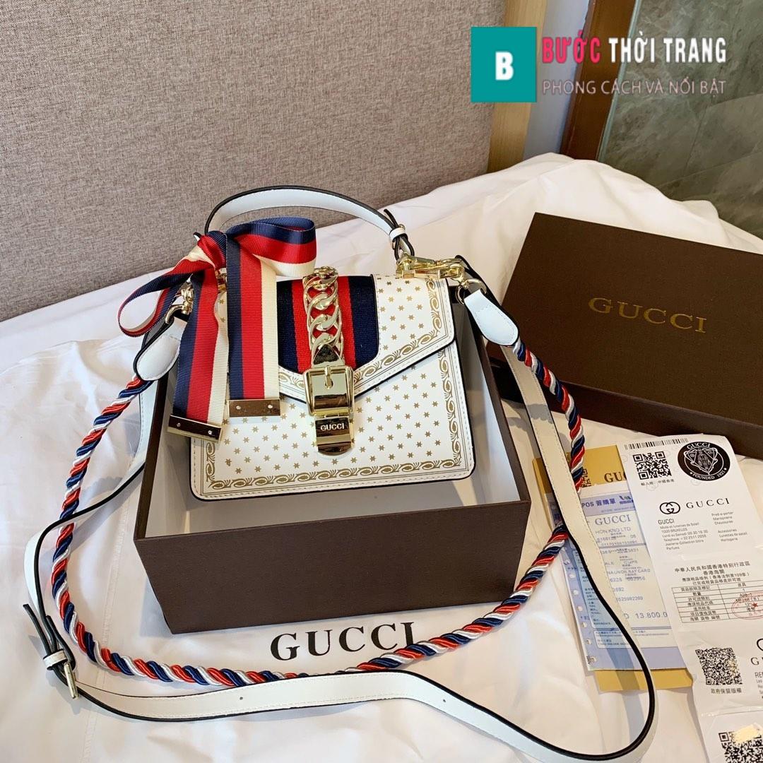 Túi Xách Gucci Sylive viền hoa văn size 20cm – 470270 (10)