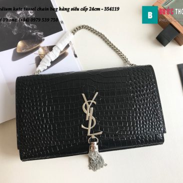 Túi YSL Medium kate tassel chain bag in fog leather hàng siêu cấp 24cm - 354119 (107)