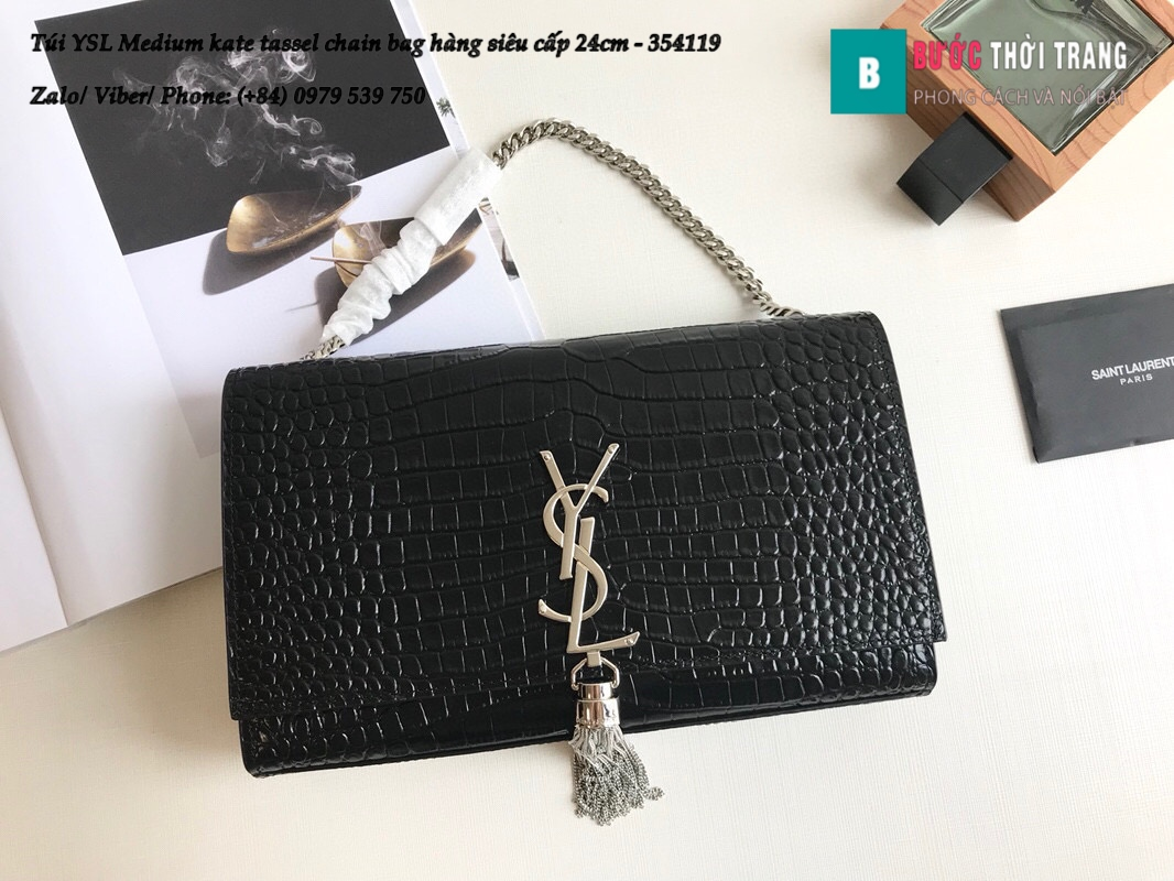 Túi YSL Medium kate tassel chain bag in fog leather hàng siêu cấp 24cm – 354119 (107)