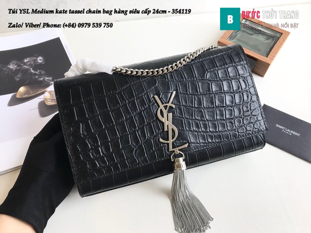 Túi YSL Medium kate tassel chain bag in fog leather hàng siêu cấp 24cm – 354119 (116)
