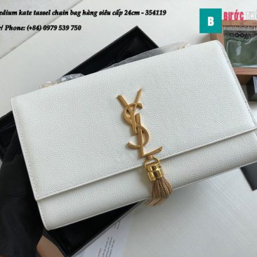 Túi YSL Medium kate tassel chain bag in fog leather hàng siêu cấp 24cm - 354119 (134)