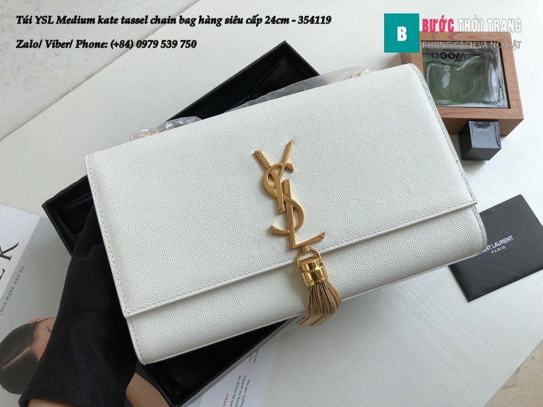 Túi YSL Medium kate tassel chain bag in fog leather hàng siêu cấp 24cm – 354119 (134)
