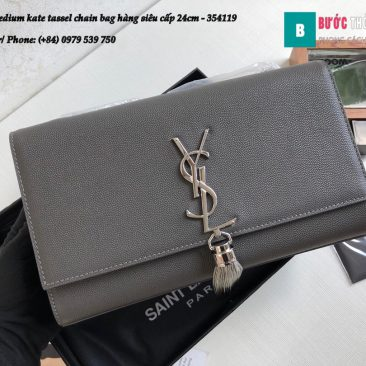 Túi YSL Medium kate tassel chain bag in fog leather hàng siêu cấp 24cm - 354119 (143)