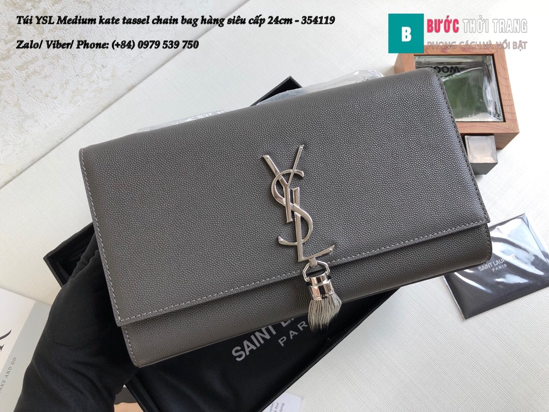Túi YSL Medium kate tassel chain bag in fog leather hàng siêu cấp 24cm – 354119 (143)