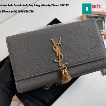 Túi YSL Medium kate tassel chain bag in fog leather hàng siêu cấp 24cm - 354119 (152)