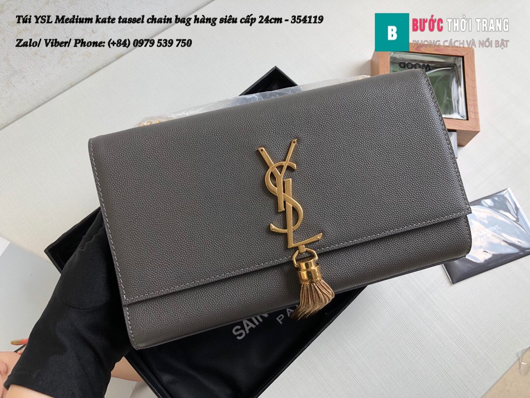 Túi YSL Medium kate tassel chain bag in fog leather hàng siêu cấp 24cm – 354119 (152)