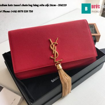 Túi YSL Medium kate tassel chain bag in fog leather hàng siêu cấp 24cm - 354119 (161)