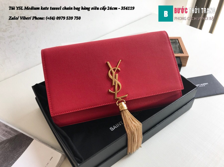 Túi YSL Medium kate tassel chain bag in fog leather hàng siêu cấp 24cm – 354119 (161)