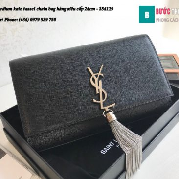 Túi YSL Medium kate tassel chain bag in fog leather hàng siêu cấp 24cm - 354119 (170)