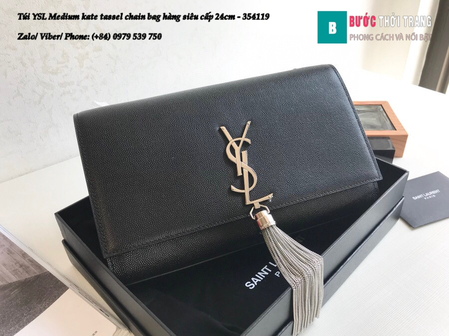 Túi YSL Medium kate tassel chain bag in fog leather hàng siêu cấp 24cm – 354119 (170)