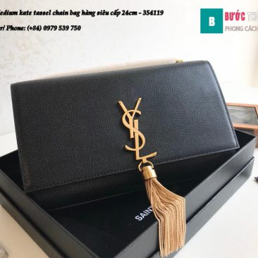 Túi YSL Medium kate tassel chain bag in fog leather hàng siêu cấp 24cm - 354119 (179)