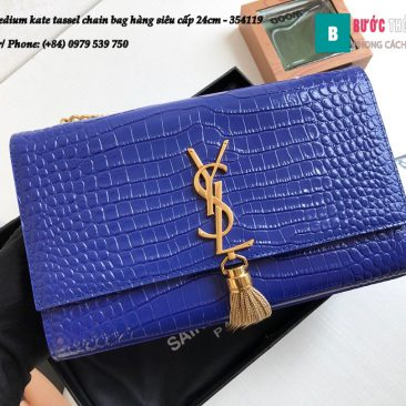 Túi YSL Medium kate tassel chain bag in fog leather hàng siêu cấp 24cm - 354119 (27)