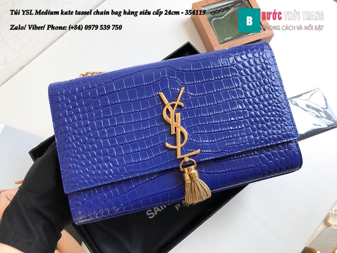 Túi YSL Medium kate tassel chain bag in fog leather hàng siêu cấp 24cm – 354119 (27)