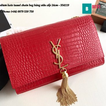 Túi YSL Medium kate tassel chain bag in fog leather hàng siêu cấp 24cm - 354119 (44)