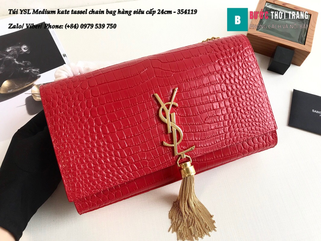 Túi YSL Medium kate tassel chain bag in fog leather hàng siêu cấp 24cm – 354119 (44)