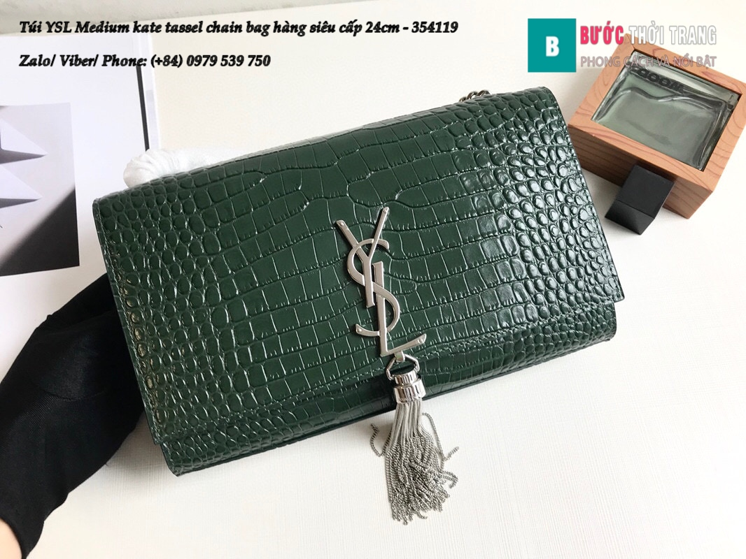 Túi YSL Medium kate tassel chain bag in fog leather hàng siêu cấp 24cm – 354119 (53)