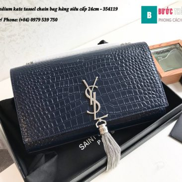 Túi YSL Medium kate tassel chain bag in fog leather hàng siêu cấp 24cm - 354119 (62)