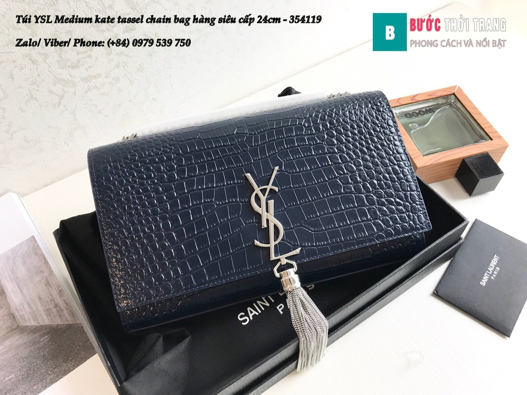 Túi YSL Medium kate tassel chain bag in fog leather hàng siêu cấp 24cm – 354119 (62)