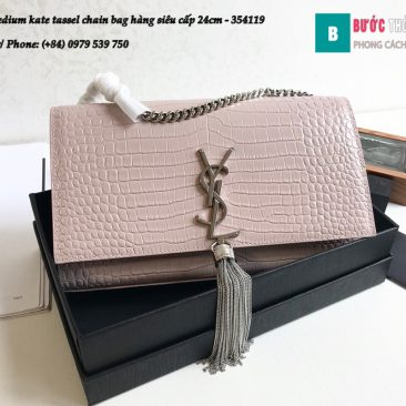 Túi YSL Medium kate tassel chain bag in fog leather hàng siêu cấp 24cm - 354119 (71)