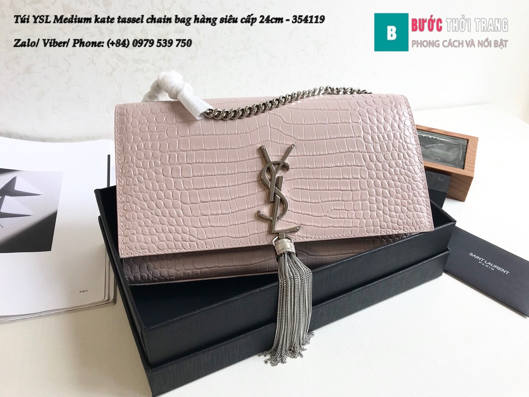 Túi YSL Medium kate tassel chain bag in fog leather hàng siêu cấp 24cm – 354119 (71)