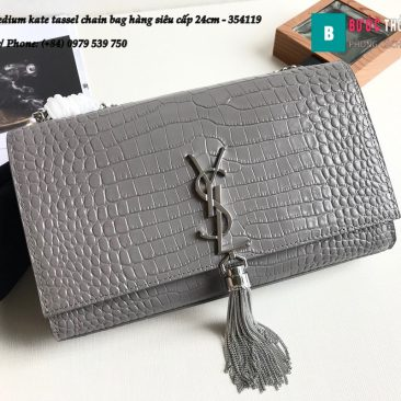 Túi YSL Medium kate tassel chain bag in fog leather hàng siêu cấp 24cm - 354119 (89)