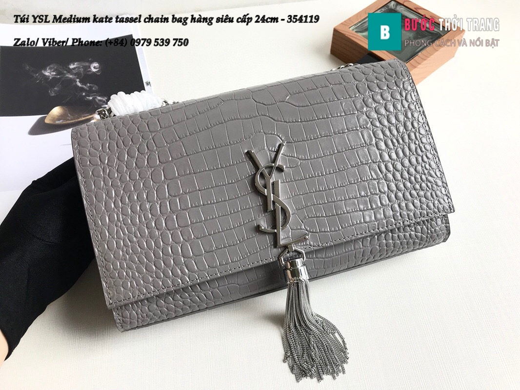 Túi YSL Medium kate tassel chain bag in fog leather hàng siêu cấp 24cm – 354119 (89)