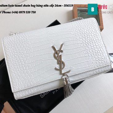 Túi YSL Medium kate tassel chain bag in fog leather hàng siêu cấp 24cm - 354119 (9)