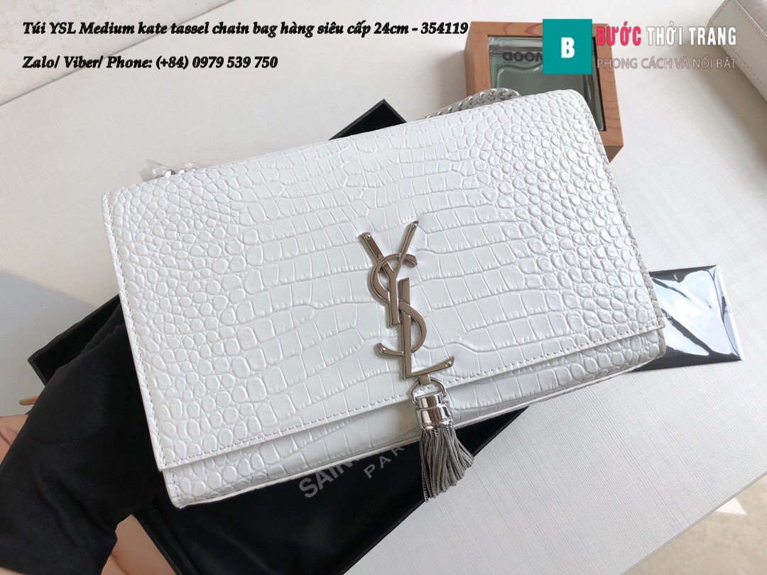Túi YSL Medium kate tassel chain bag in fog leather hàng siêu cấp 24cm – 354119 (9)