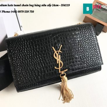 Túi YSL Medium kate tassel chain bag in fog leather hàng siêu cấp 24cm - 354119 (98)