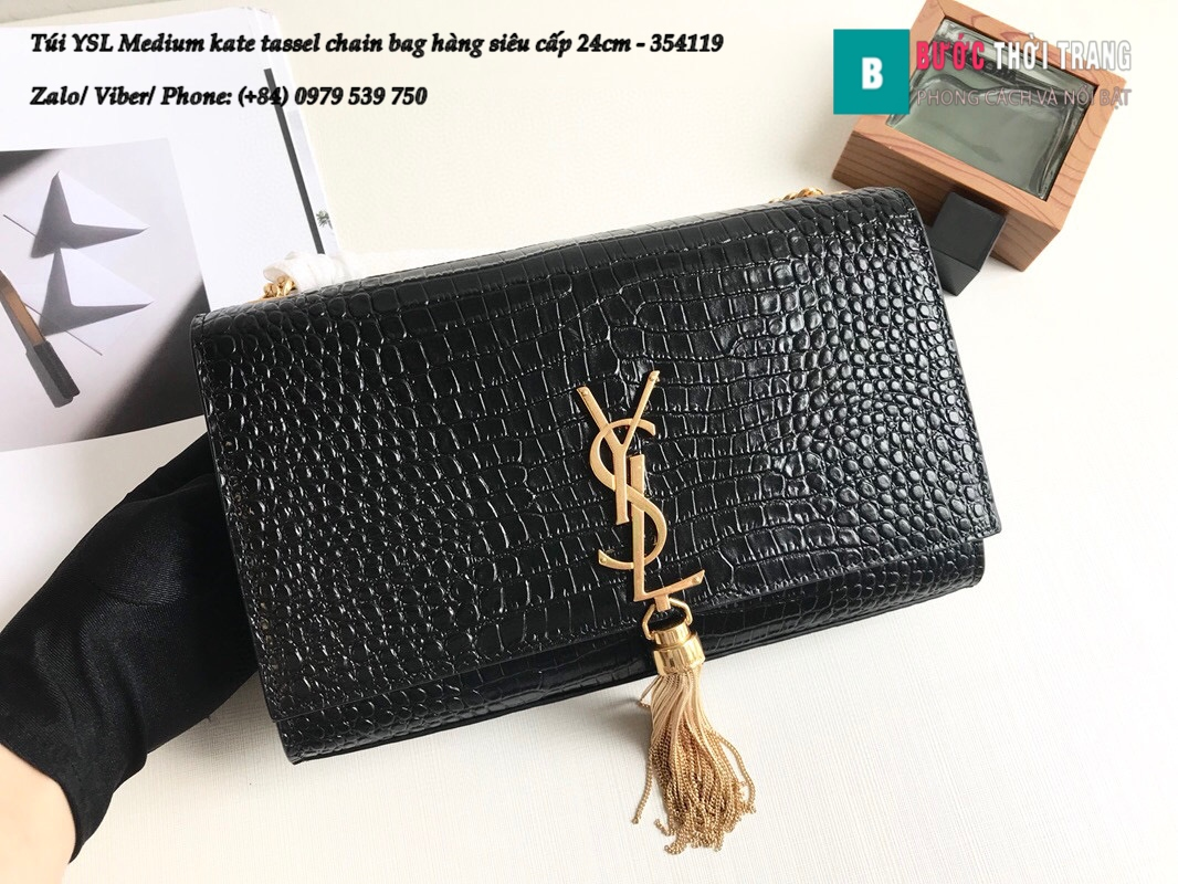 Túi YSL Medium kate tassel chain bag in fog leather hàng siêu cấp 24cm – 354119 (98)