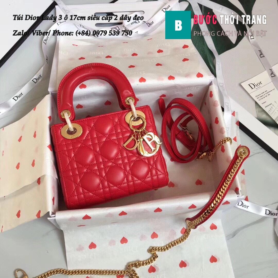Túi Dior Lady 3 ô 17cm siêu cấp (127)