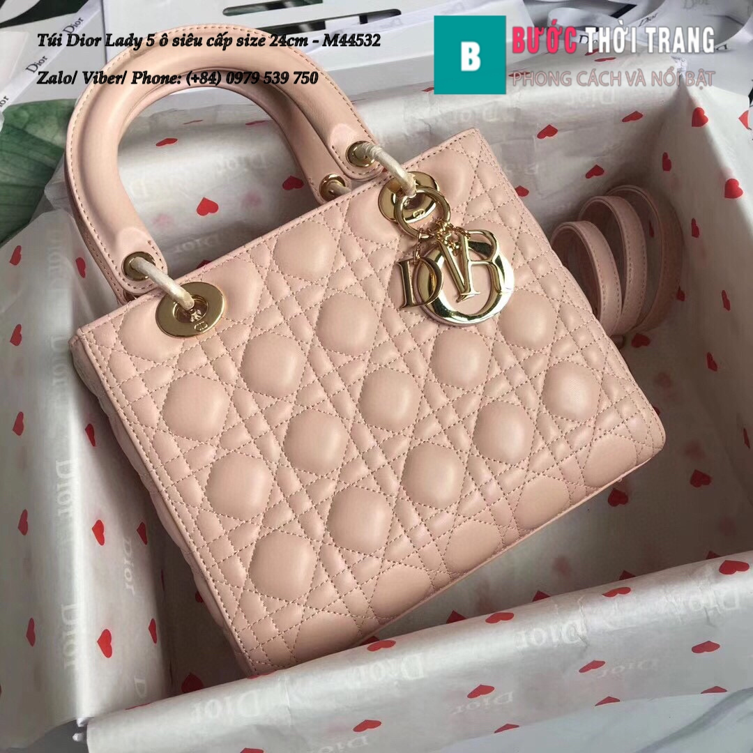 Túi Dior Lady 5 ô siêu cấp size 24cm – M44532 (127)